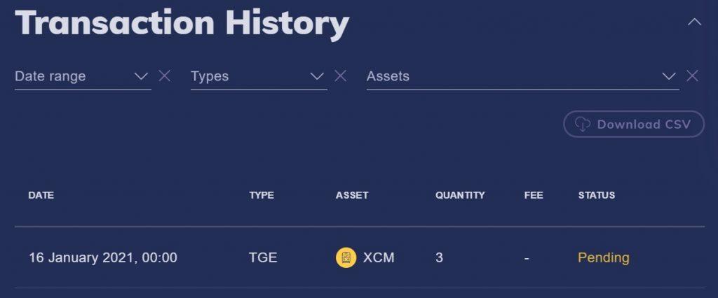 QNT staking rewards on the CoinMetro dashboard
