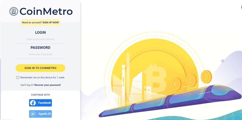 CoinMetro Homepage where you can buy altcoins