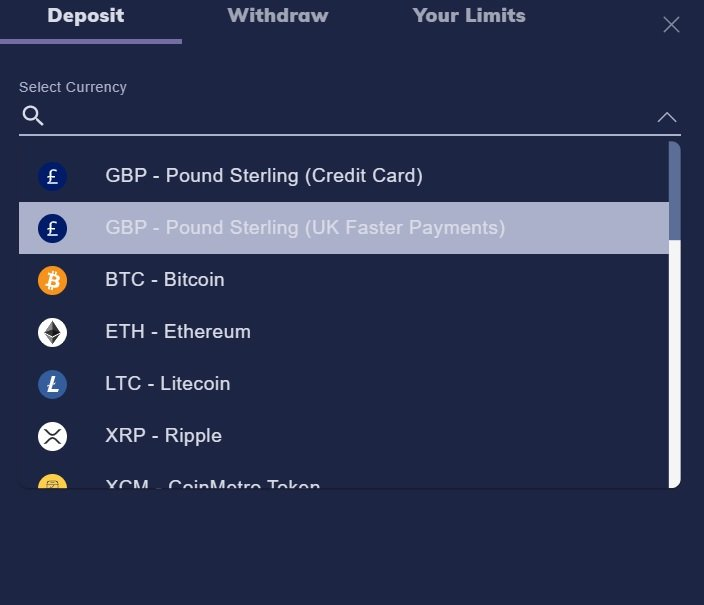 Deposit methods on CoinMetro to buy altcoins