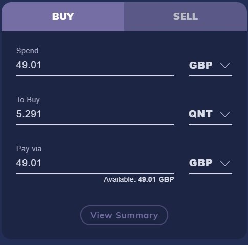 How to buy Quant using CoinMetro